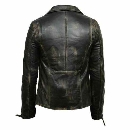 Men's Distressed Black Retro Vintage Real Leather