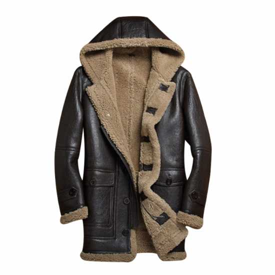 Men's Dark Brown Hooded Sheepskin Shearling Bomber