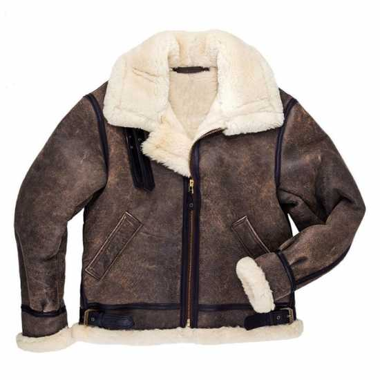 B-3 Hooded Sheepskin Bomber Jacket Men's
