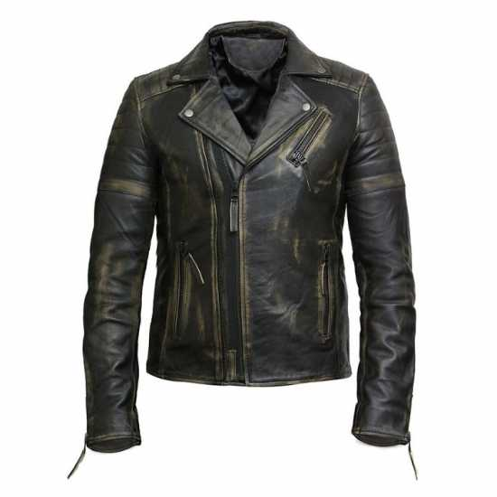 Men's Vintage Slim Fit Brando Biker Leather Jacket