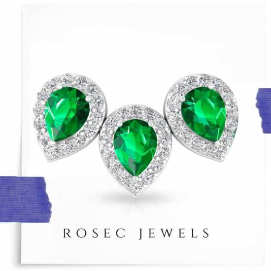 Green Color Stone Halo Diamond Earring